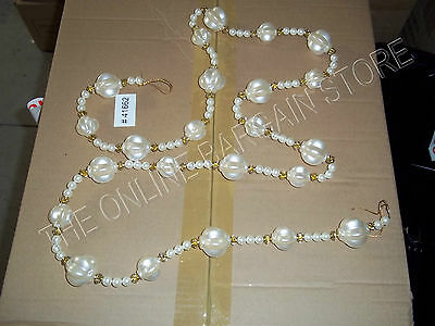 Frontgate Christmas Tree Pearl Crystal Garland Chandelier light rope roping 6'