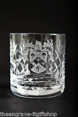 Crystal Whiskey Glasses - Family Crest - Lead Crystal - Gift Boxed