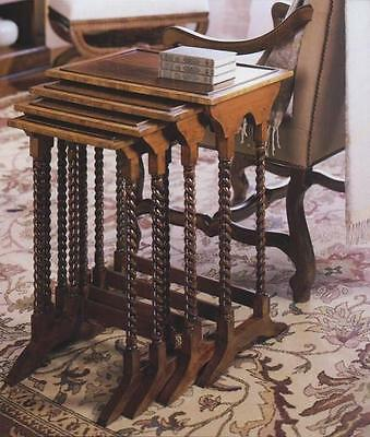 Walnut Nest Of Tables With Barley Twist Legs Reproduction Antique