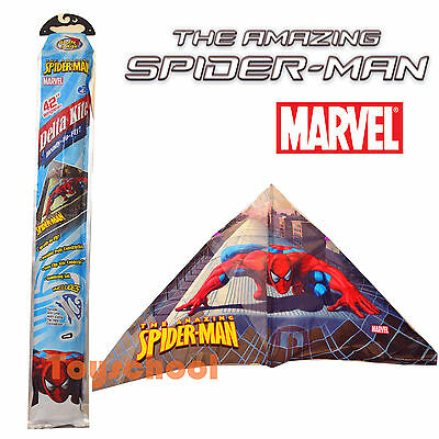 "42"" Marvel The Amazing Spiderman Kids Triangle Delta Kite w/Lines Outdoor Toys"