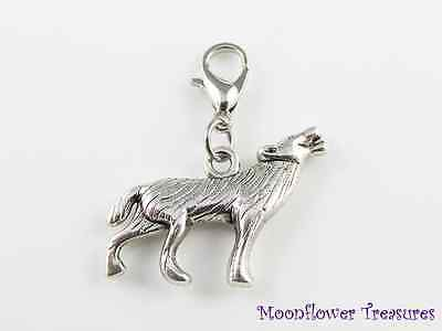 Tibetan Silver Wolf Howling Twilight Charm fit Clip on Charm Bracelet