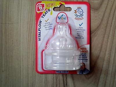 2 Pack/set Babies/baby Bottle Wide Neck Vital Fast Flow Teats Silicone 6 Months+