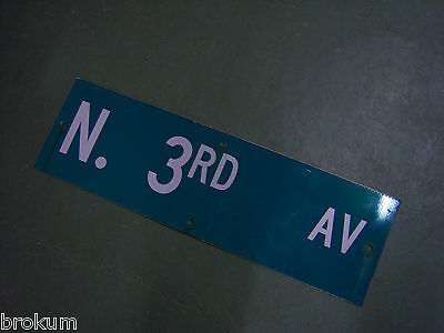 "Vintage ORIGINAL N. 3RD AV STREET SIGN WHITE ON GREEN BACKGROUND 30"" X 9"""
