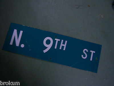"Vintage ORIGINAL N. 9TH ST STREET SIGN WHITE ON GREEN BACKGROUND 30"" X 9"""