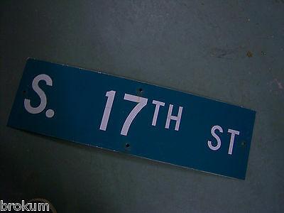 "Vintage ORIGINAL S. 17TH ST STREET SIGN WHITE ON GREEN BACKGROUND 30"" X 9"""