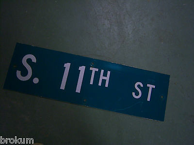 "Vintage ORIGINAL S. 11TH ST STREET SIGN WHITE ON GREEN BACKGROUND 30"" X 9"""