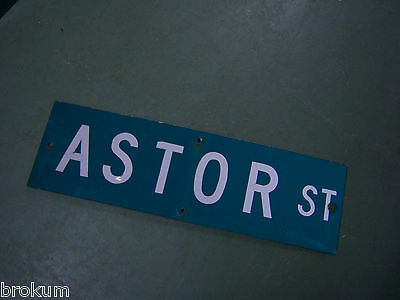 "Vintage ORIGINAL ASTOR ST STREET SIGN WHITE LETTERING ON GREEN 30"" X 9"""