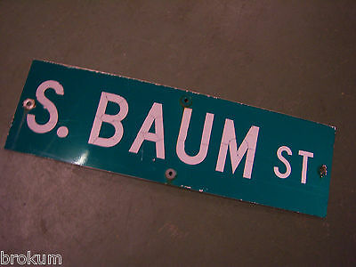 "Vintage ORIGINAL S. BAUM ST STREET SIGN 30"" X 9"" WHITE LETTERING ON GREEN"