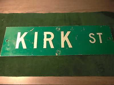"Vintage ORIGINAL KIRK ST STREET SIGN 30"" X 9"" WHITE LETTERING ON GREEN"