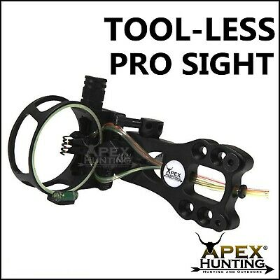 TOOL-LESS PRO SIGHT 5-PIN FIBRE OPTIC SIGHT FOR COMPOUND BOW w/ LED LIGHT