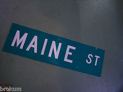 "Vintage ORIGINAL MAINE ST STREET SIGN 30"" X 9"" WHITE LETTERING ON GREEN"