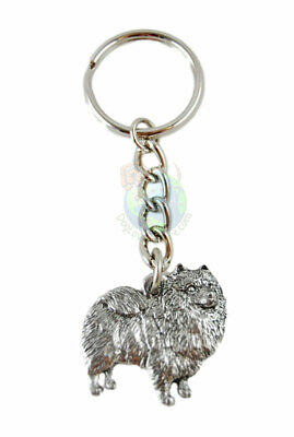 Keeshond Keychain Silver Pewter Key Chain Ring