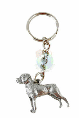 Rottweiler Keychain Silver Pewter Key Chain Ring