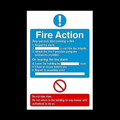 Fire Action If you Discover a Fire - Plastic Sign or Sticker - A6, A5, A4 (FA17)