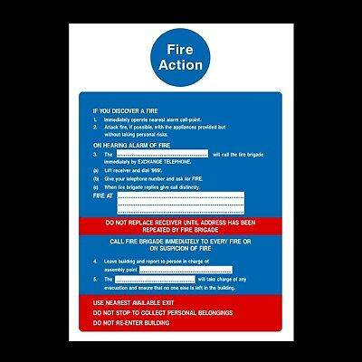 Fire Action Plan Signs & Stickers All Sizes! All Materials! Free P+P (Fa12)