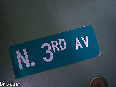 "Vintage ORIGINAL N. 3RD AV STREET SIGN WHITE ON GREEN BACKGROUND 24"" X 9"""