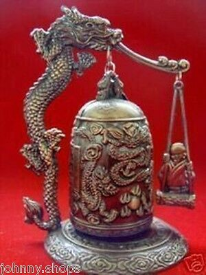 Tibet excellent beautifully carved dragon Buddha clock decoration