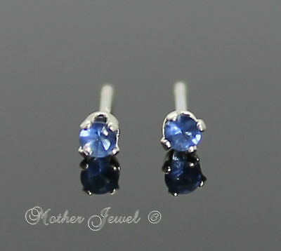 2mm REAL SOLID 925 STERLING SILVER Sapphire Blue CZ Earrings Ladies Unisex Studs