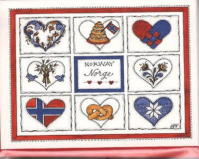 Norway (Norge) and heart cards – set of 8 cards with red envelopes, blank inside