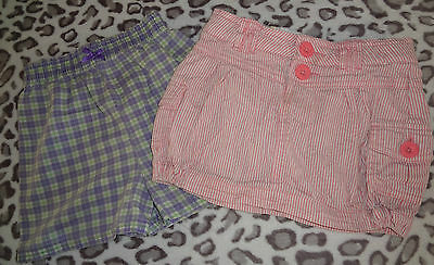 Girls Lot Of Two Pair Shorts Pink & White Striped & Purple Green White Plaid @@!