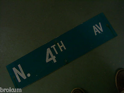 "Vintage ORIGINAL N. 4TH AV STREET SIGN 36"" X 9"" WHITE ON GREEN BACKGROUND"