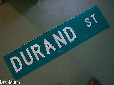 "Vintage ORIGINAL DURAND ST STREET SIGN 36"" X 9"" WHITE LETTERING ON GREEN"
