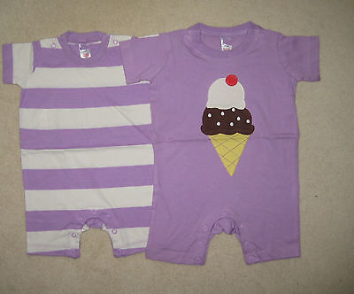 New Baby Mini Boden Romper Play Suit 3 6 12 18 24 months Ice Cream or stripe