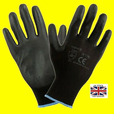 24 Pairs Of Brand New Black Nylon PU Safety Work Gloves Builders Grip Gardening