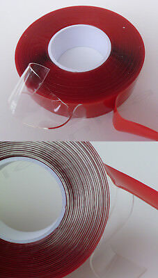 TRANSPARENT Clear Silicone Acrylic Gel Self-Adhesive Double Sided Tape 22mm x 5m