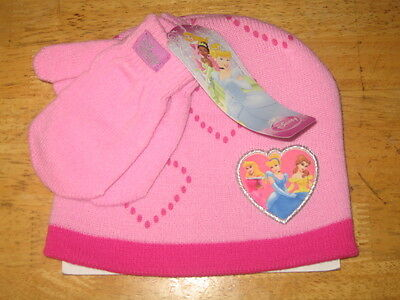 NWT Toddler Girls Disney Princess Beanie & Mittens - One Size Fits Most