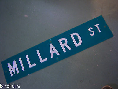 "Vintage ORIGINAL MILLARD ST STREET SIGN 42"" X 9"" WHITE LETTERING ON GREEN"