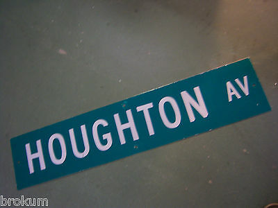 "Vintage ORIGINAL HOUGHTON AV STREET SIGN 42"" X 9"" WHITE LETTERING ON GREEN"