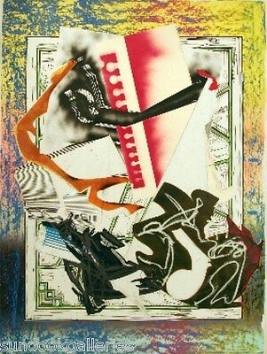 """FRANK STELLA """"GOING ABROAD"""" FROM THE WAVES II SERIES MIXED MEDIA 73"""" X 54"""""""