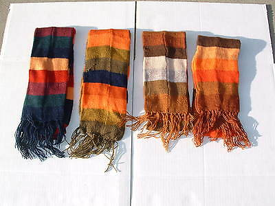 Unisex alpaca fur hand crochet neck scarves multicolor striped