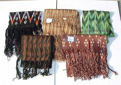 NEW multicolor unisex silk scarves geometric designs organic handloom Andean