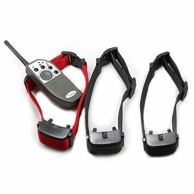 3xReceivers Dog Remote Control 1000M Waterproof Vibration Shock Training Collar