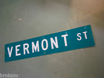 "Vintage ORIGINAL VERMONT ST STREET SIGN 42"" X 9"" WHITE LETTERING ON GREEN"