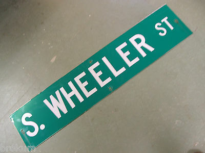"Vintage ORIGINAL S. WHEELER ST STREET SIGN 42"" X 9"" WHITE LETTERING ON GREEN"