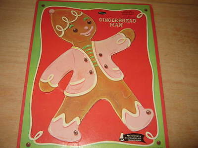 Vintage Whitman Frame Tray Puzzle 1960 Gingerbread Man #4421