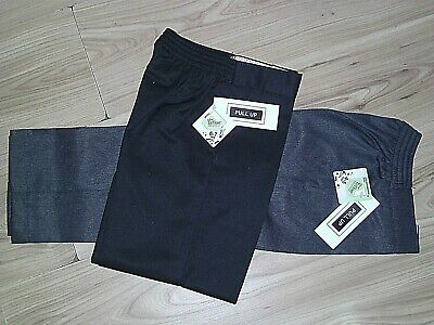 Boys Quality Pull-Up Trousers-Black/Grey-By Teflon School Uniform 18 Month-7 Yrs