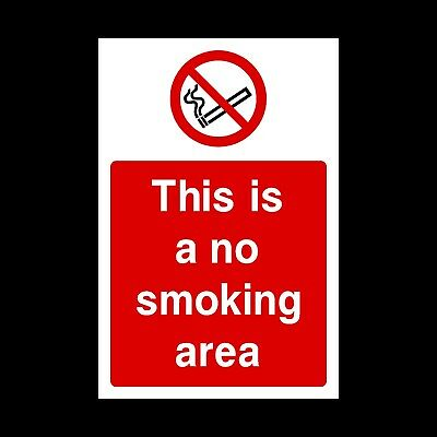 No Smoking Area Signs & Stickers All Sizes! All Materials! Free P+P (Ps50)
