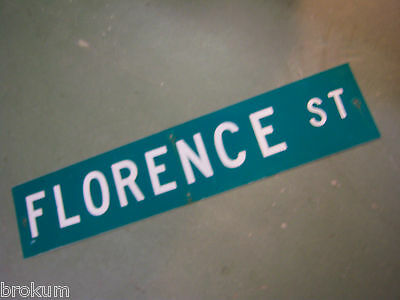 "Vintage ORIGINAL FLORENCE ST STREET SIGN 42"" X 9"" WHITE LETTERING ON GREEN"