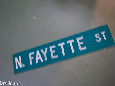 "Vintage 2 SIDED  N. FAYETTE ST STREET SIGN 42"" X 9"" WHITE LETTERING ON GREEN"