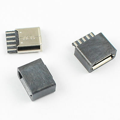 10Pcs Micro USB Type B 5 Pin Female Socket Connector With Cover