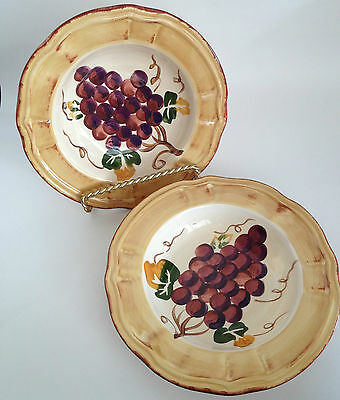 2 Tabletops Unlimited Italian Grapes Rimmed Soup Cereal Bowls
