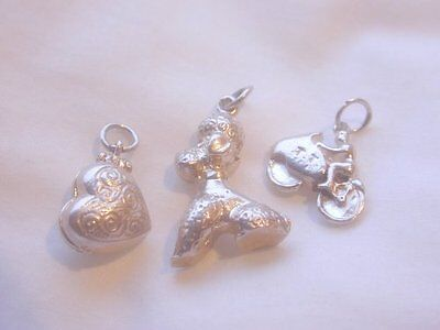3 SUPERB EARLY VINTAGE SOLID SILVER CHARMS / NICE HEAVY ONES / POODLE - T.T BIKE