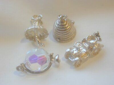 """4 SUPERB OLD VINTAGE SOLID SILVER CHARMS """" OPENING BEEHIVE CHARM """" MOTOR CAR ETC"""
