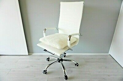 Genuine cream white sheepskin seat / chair pad cover - soft wool - quilted base