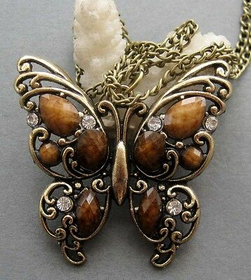 Acrylic Diamond Copper-Coated Butterfly Pendant Chain Necklace
