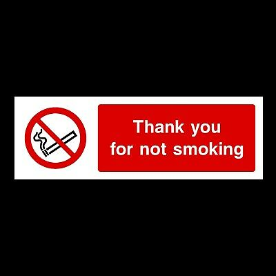 Thank you for not Smoking 300x100mm Rigid Plastic Sign OR Sticker (PS14)